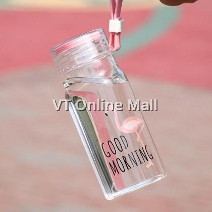 Elegant Flamingo Glass Drinking Bottle 360ml