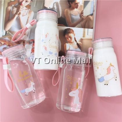 Unicorn Adorable Glass Drinking Bottle 360ml