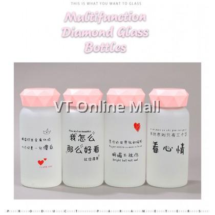 Diamond Fashion Korean Style Couple Frosted Glass Drinking Bottle 350ml