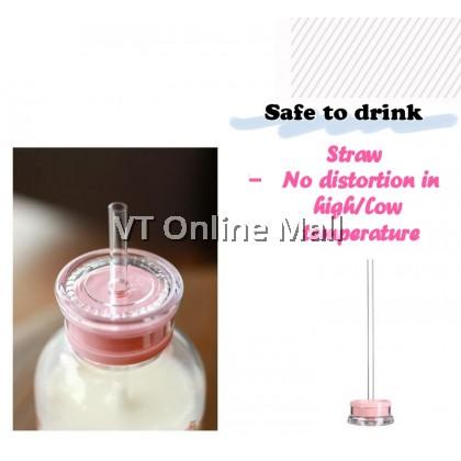 Sweet Pinky Piggy Korean Glass Drinking Bottle 350ml