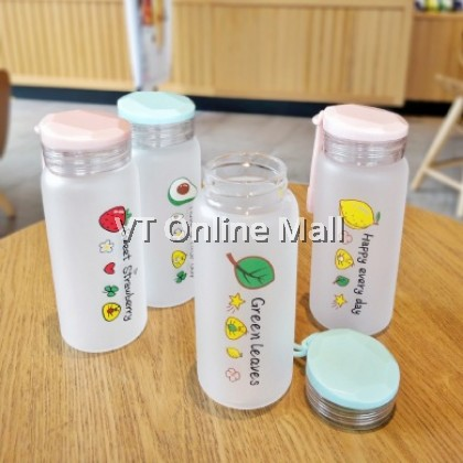 Creative Cute Fruits Frosted Glass Drinking Bottle 400ml