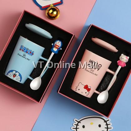 Cute Doraemon & Hello Kitty Ribbon Gift Box Mug