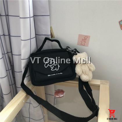Cute Little Puppy Korean Black Canvas Shoulder Bag