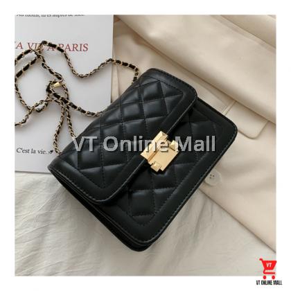 Quilted Gold Chain Black White Women Fashion Shoulder Bag Handbag
