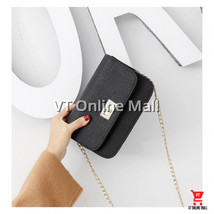 Korean Golden Chain Shoulder Strap Stylish Black Women Shoulder Bag