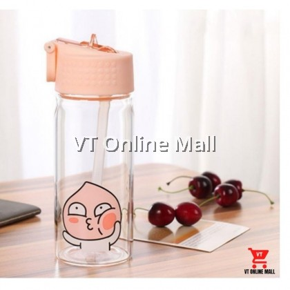 Apeach Ryan Kakao Friends Korean Glass Drinking Bottle 500ML