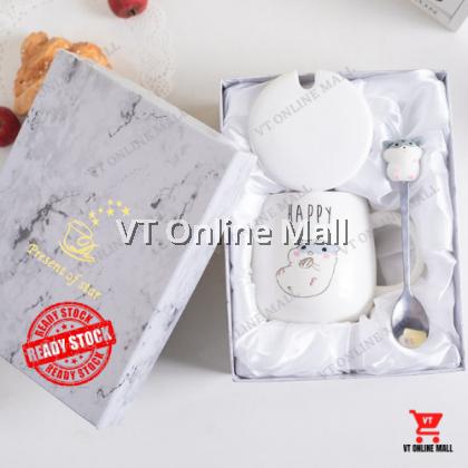 Cute Happy Lovely Handsome Hamster Mug Lid Spoon Gift Birthday Box Wedding Festival Present